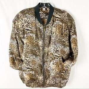 Vintage silk animal print track jacket pockets  L